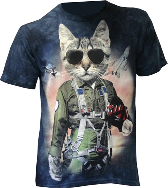 Picture of Tomcat Pilot fun T-Shirt with a cat
