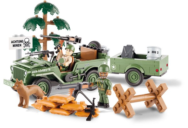 Picture of Cobi Willys Jeep mit Anhänger US Army WWII Baustein Set