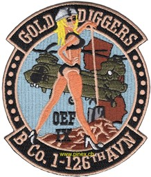 Bild von B Company 1-126th Aviation Patch Gold Diggers OEF Abzeichen