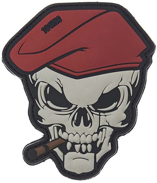 Bild von Smoking Skull Cigar Skull Red Beret PVC Rubber Patch