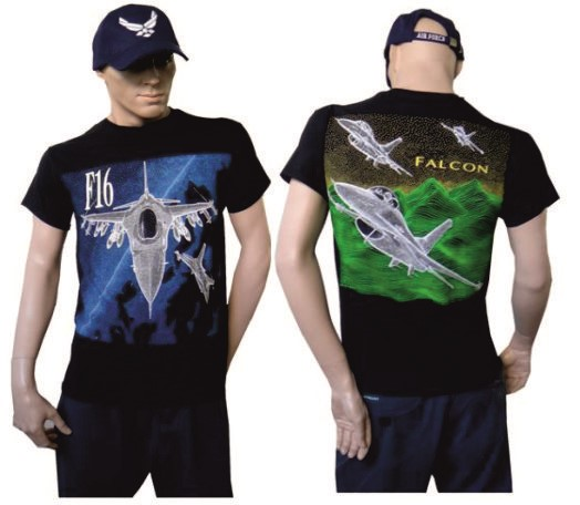 Photo de F16 Falcon Fighting Jet T-Shirt, blau-grün